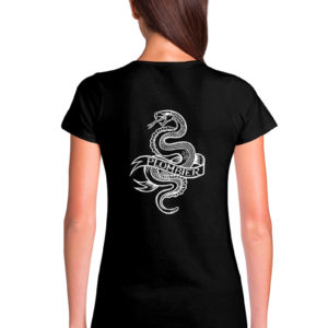 T-shirt col V noir femme Plombier Tattoo