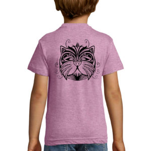 T-shirt rose chiné enfant Daruma Neko