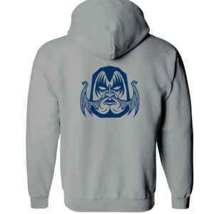 Sweat zippé gris et bleu marine homme Daruma Kiss