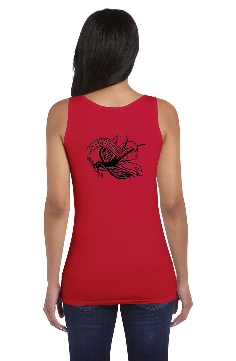 Débardeur rouge femme Électricienne Tattoo Thunderbird