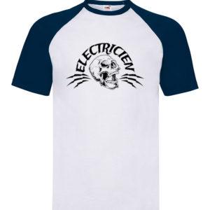 T-shirt baseball blanc/bleu enfant Électricien Rock