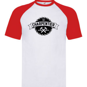 T-shirt baseball blanc/rouge enfant Charpentier Basique