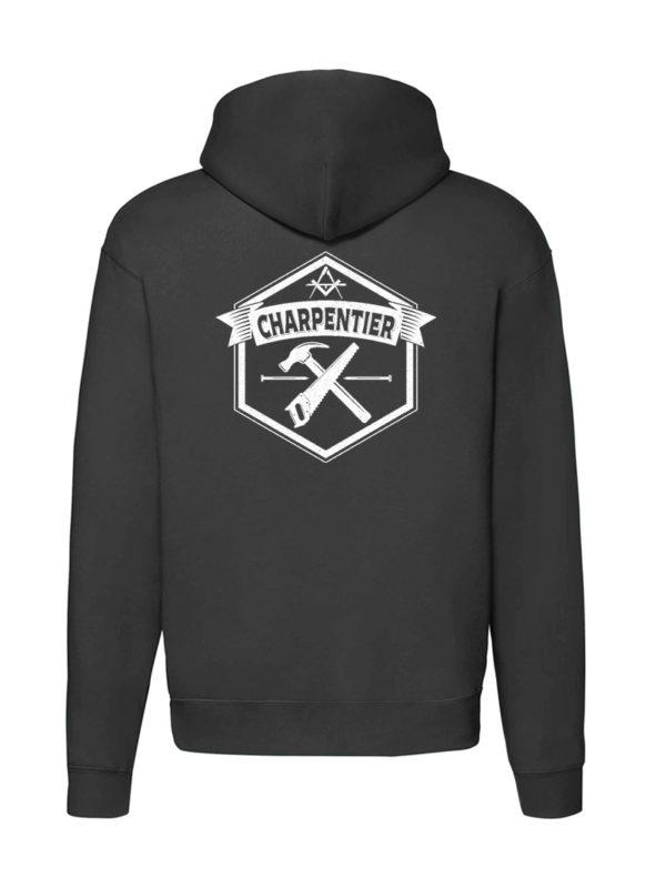 Sweat-shirt zippé noir unisexe Charpentier Basique Nazareth
