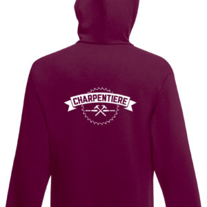 Sweat-shirt capuche bordeaux unisexe Charpentière Basique Hey Joe