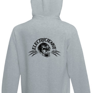 Sweat-shirt capuche gris chiné unisexe Électricienne Rock High Voltage
