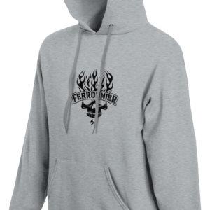Sweat-shirt capuche gris chiné unisexe Ferronnier Rock Forge Et Honneur