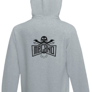 Sweat-shirt capuche gris chiné unisexe Mécano Rock Highway to Hell