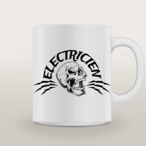"Mug porcelaine Électricien Rock ""High Voltage"""