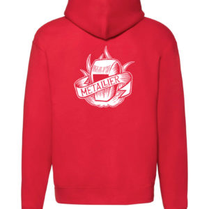 Sweat-shirt zippé rouge unisexe Métallier Tattoo Always On My Mind