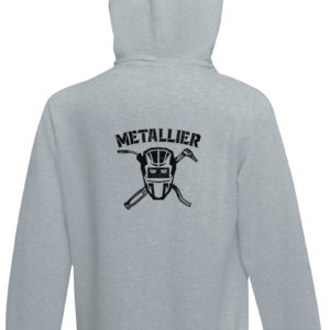 Sweat-shirt capuche gris chiné unisexe Métallier Basique Star Trooper