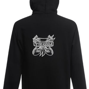 Sweat-shirt capuche noir unisexe Terrassier Tattoo Now Or Never