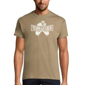 T-Shirt kaki homme Terrassier Basique No Man's Land
