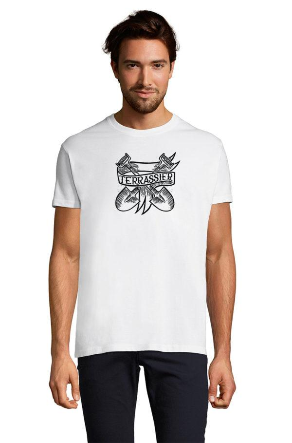 T-Shirt blanc homme Terrassier Tattoo Now Or Never