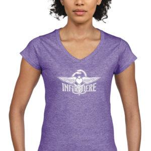 T-shirt col V violet chiné femme Infirmière Basique Stayin' Alive