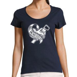 T-shirt décolleté bleu marine femme Menuisière Tattoo Don't Be Cruel
